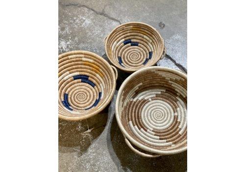 """Kabba Africa Art Handwoven Fiber 10"""" Bowl with handles"""