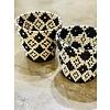 """Kabba Africa Art Handwoven Fiber 10"""" Basket Black & Natural"""