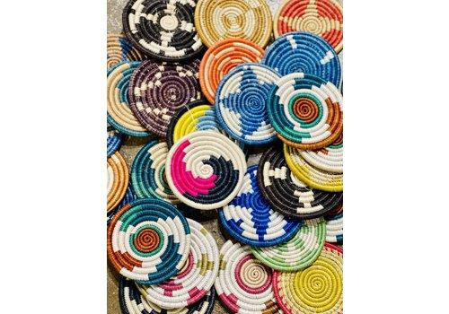 """Kabba Africa Art Handwoven Fiber 4"""" Coaster, Asstd"""