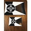 "The Workroom Wichita Flag Black & White Decal 2""x3"""