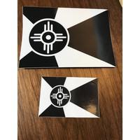"Wichita Flag Black & White Decal 2""x3"""
