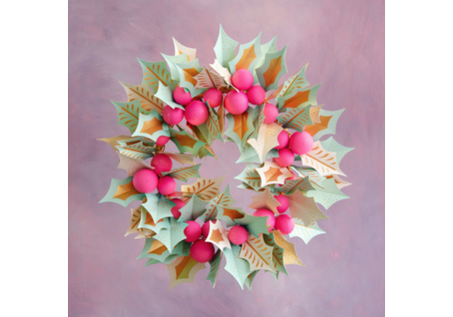"""One Hundred 80 Degrees Paper Mache Holly Wreath 30"""""""