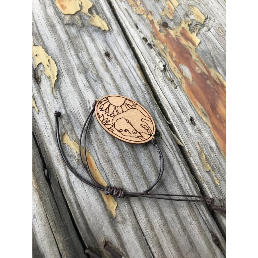 Bison Leather, String Bracelet
