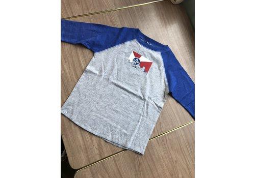 GMFD 50/50 Grey/Blue Youth Raglan Long Sleeve