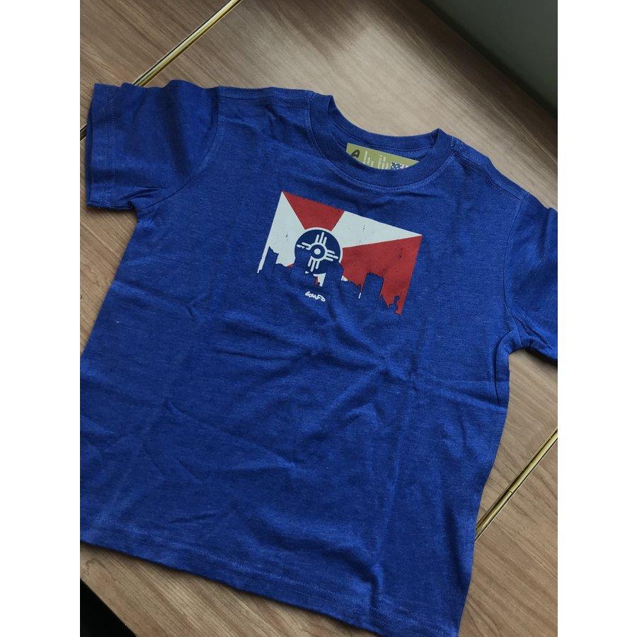 Blue Youth Short Sleeve Wichita Flag/Skyline