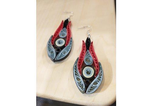 Morgan Martinez Studio Paper Quill Earrings- Red, Black, Grey, Cream