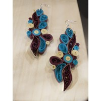 Paper Quill Earrings- Maroon, Blue, Cream