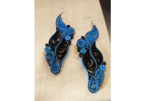 Morgan Martinez Studio Paper Quill Earrings- Blue and Black