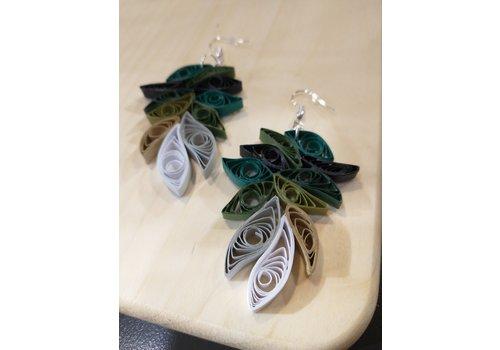 Morgan Martinez Studio Paper Quill Earrings- Teal, Greens, White, Grey, Tan, Black