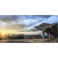 """Sunset Wichita Train Station Photo Board 15""""x30"""""""