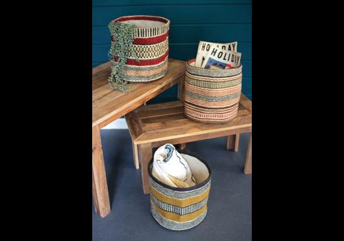 "Kalalou Multi Colored Woven Jute Baskets 12""x12"""