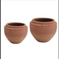 Round Textured Terra-cotta Pot
