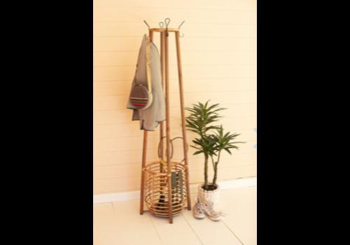 Kalalou Tall Rattan Coat Rack with Umbrella Basket