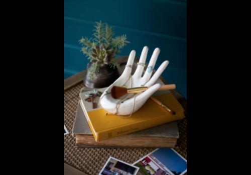 Kalalou White Ceramic Hand Ring Holder