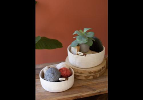 Kalalou Coiled Cotton Storage Baskets, White