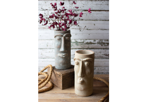 Kalalou Clay Face Vase