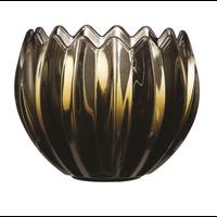 Pressed Fluted Glass Tealight/Votive Holder, Green