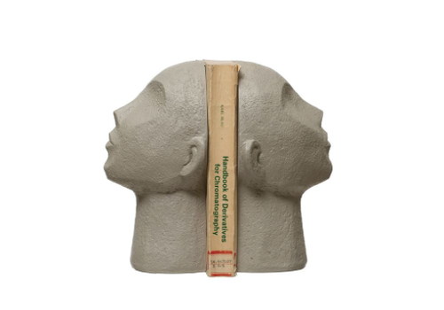 Bloomingville Resin Face Bookends, Grey, Set of 2