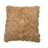 Square Cotton and Rayon Shag Pillow, Camel Color