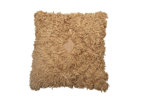 Bloomingville Square Cotton and Rayon Shag Pillow, Camel Color