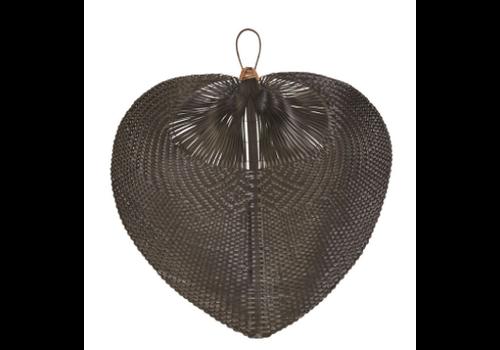 Bloomingville Hand-Woven Bamboo Fan, Black