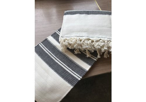 Dreamweaver Textiles Turkish Towel Horizontal Line Pattern with Knotted Fringe