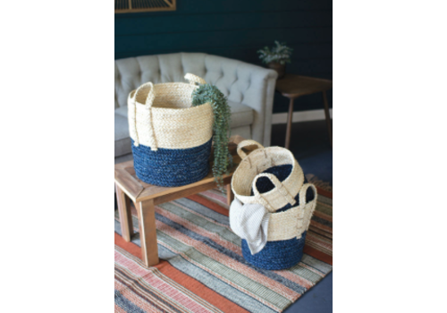 Kalalou Three Braided Maize Rope Baskets with Blue Bottoms