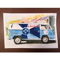 VW #LOVEICT Bus Watercolor Print