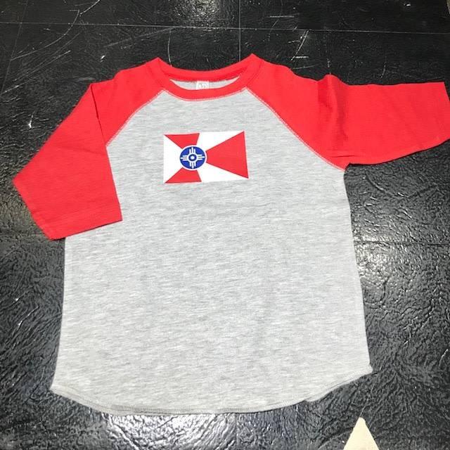 GMFD Wichita Flag Red Raglan Toddler/Youth Shirt