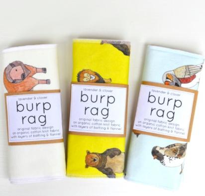 Lavender & Clover Illustrated Baby Burp Rag