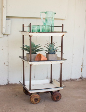 The Workroom Recycled Enamel Bar Cart with Casters