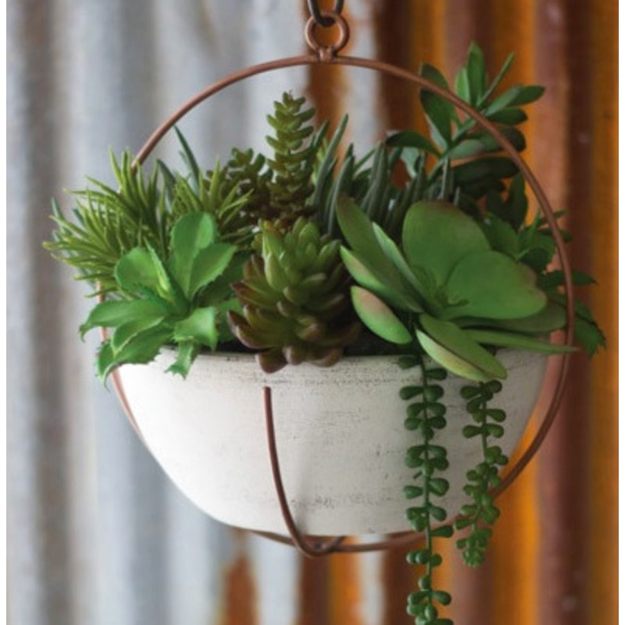 Hanging Copper & White Clay Planter