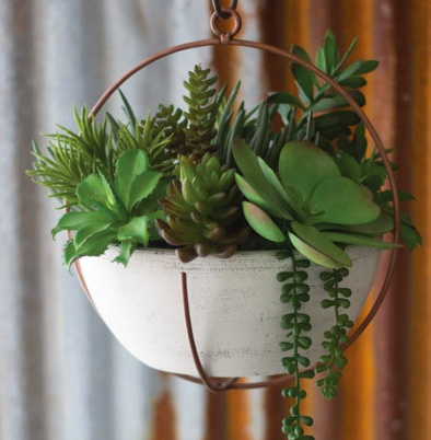 The Workroom Hanging Copper & White Clay Planter