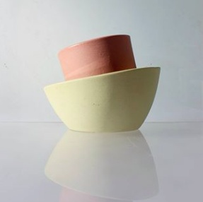 Del Norte Design Handmade Ceramic Slant Bowl Yellow