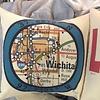 """Longitude/Latitude 16"""" square pillow"""
