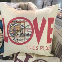 """""""Love"""" 16' Square Pillow"""