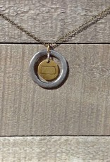 Julio Designs Hammered Ring State Charm Necklace