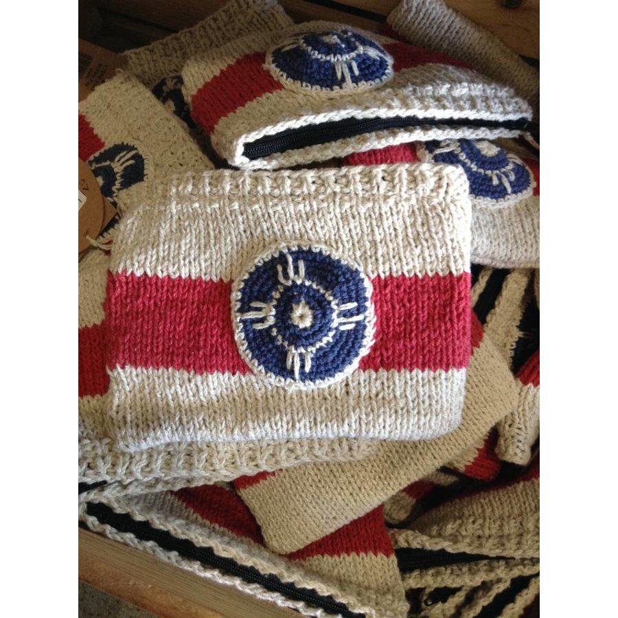 Hand Knit Flag Pouch