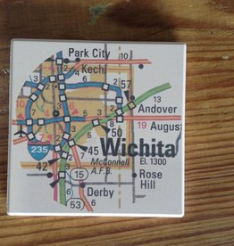 Julio Designs Wichita Map Coaster Set