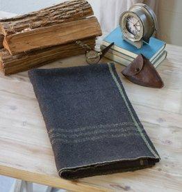 Kalalou Cotton Blend Utility Blanket/Blue w/ Yellow Stripe