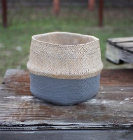 Kalalou Natural and Grey Woven Cement Planter