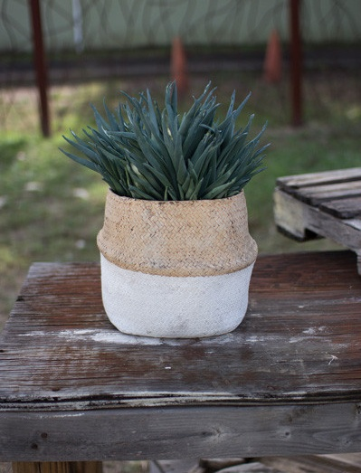Kalalou Natural and White Woven Cement Planter