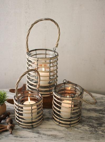 Kalalou Grey Willow Lantern with Glass/Med
