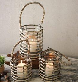 Kalalou Grey Willow Lantern with Glass/LG