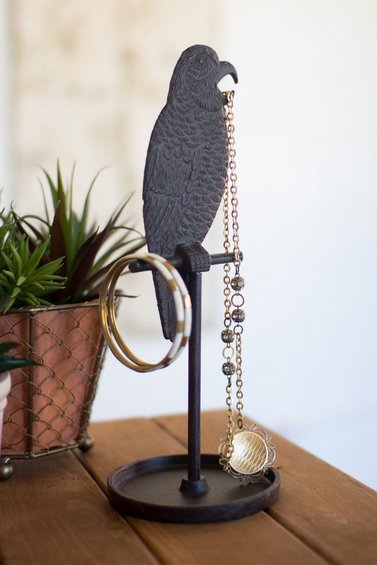 Kalalou Cast Iron Parrot Jewelry Stand