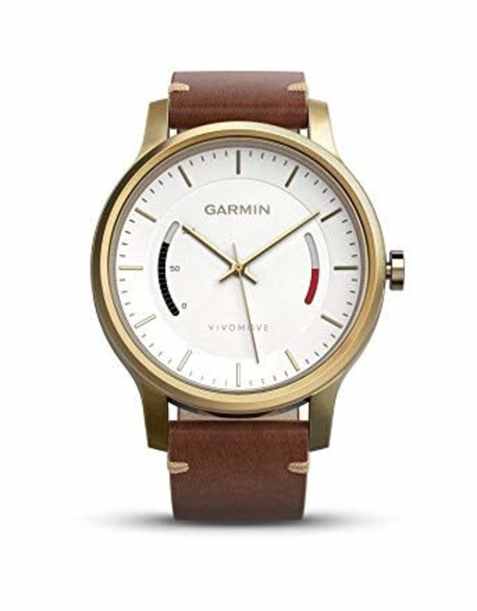 GARMIN Garmin, Vivomove Premium, Watch, Gold-tone steel/ Light brown leather band, 010-01597-23