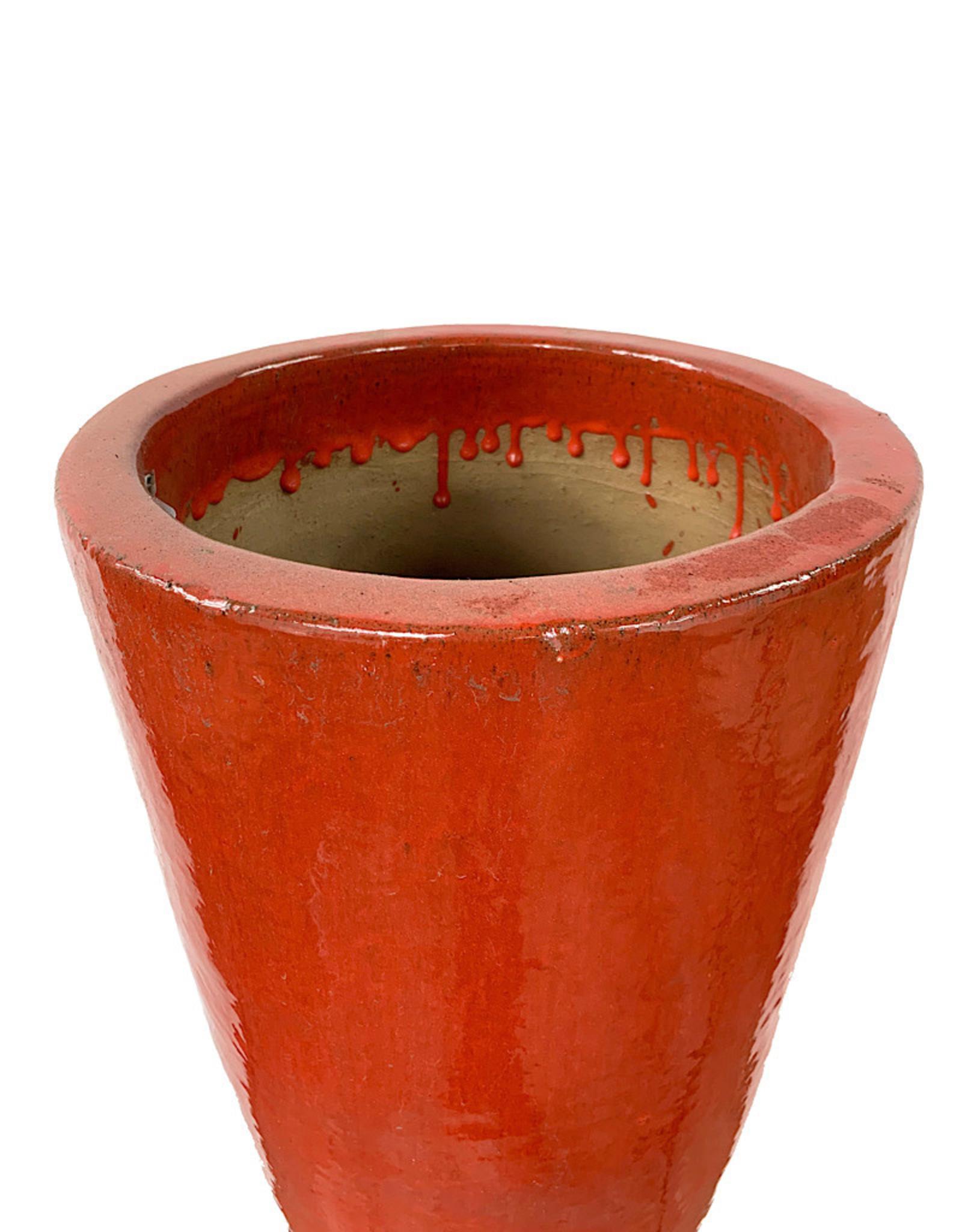 Tall Cone Pot Chili Red