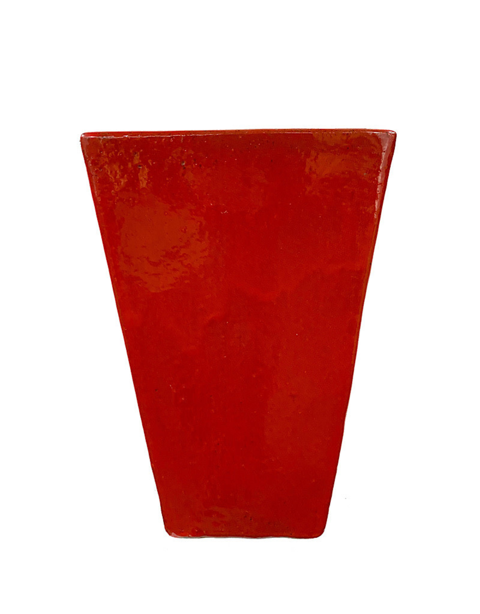 Tall Square Pot Red