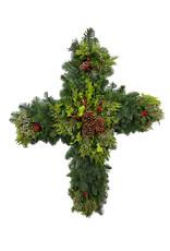 Holiday Greenery Wreath Cross 34 Inch