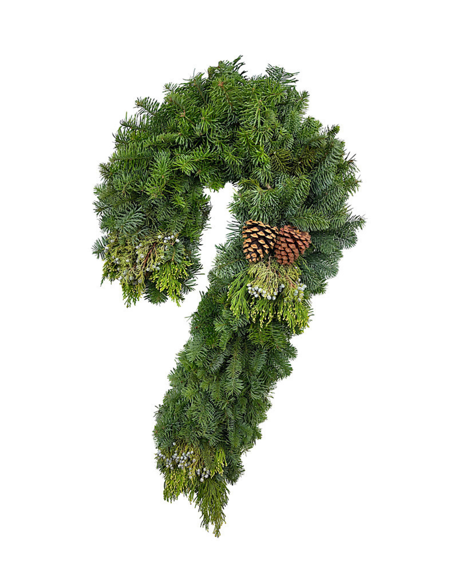 Holiday Greenery Wreath Candy Cane